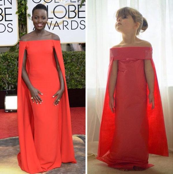 Vestido de papel feito por Angie e Mayhem inspirado no da atriz Lupita Nyong'o, usado no Golden Globe Awards