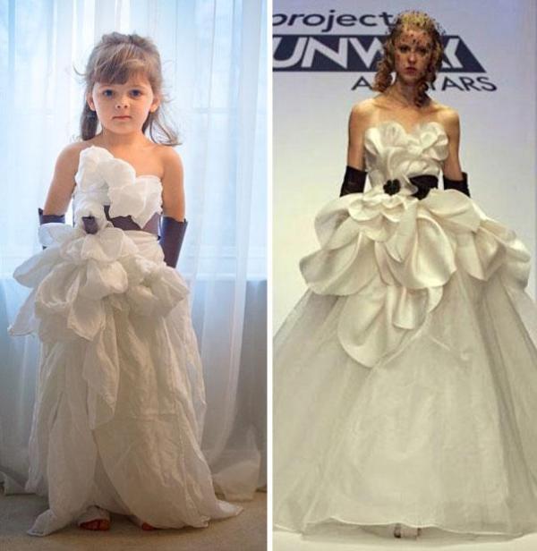 Vestido de papel feito por Angie e sua filha Mayhem com inspiração no Project Runway