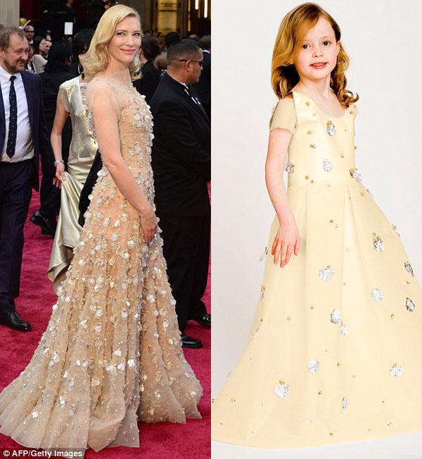 Vestido de papel feito por Angie e sua filha Mayhem com inspiração no vestido usado por Cate Blanchett no Oscar