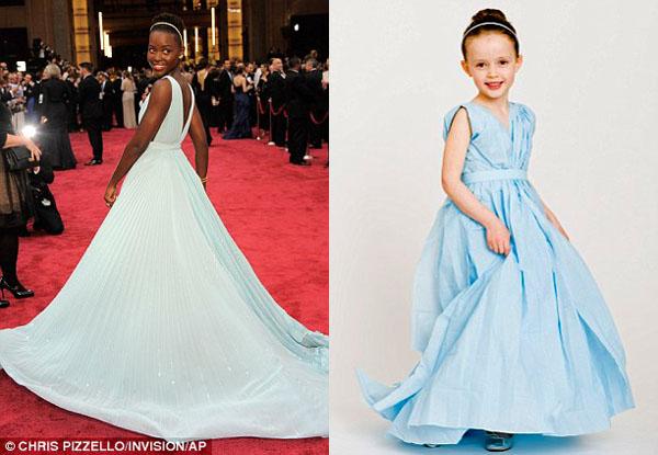 Vestido de papel feito por Angie e sua filha Mayhem com inspiração na atriz Lupita Nyong'o no Oscar 2014