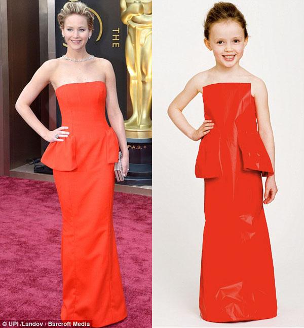 Vestido de papel feito por Angie e sua filha Mayhem com inspiração na Jennifer Lawrence no Oscar 2014