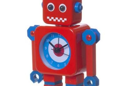 Robô vermelho infantil com relógio