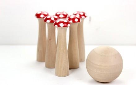 Jogo de boliche em formato de cogumelo no Etsy