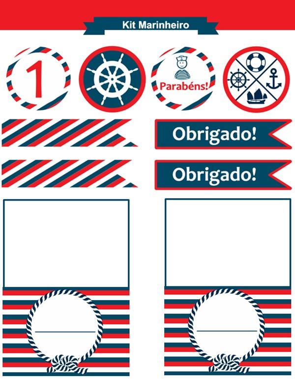 Kit de festa infantil com decoração náutica (ou navy) para imprimir e  sugestões de looks para as crianças 0a205b850e3