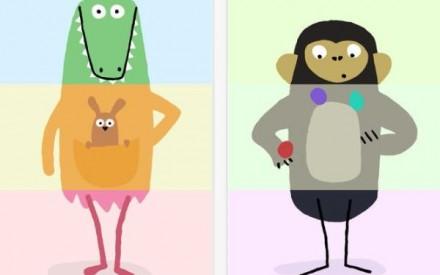 Aplicativo para crianças brincarem misturando e combinando partes dos animais