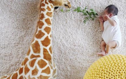 Mãe tira fotos fofas de sua bebê em cenários montados com objetos de casa