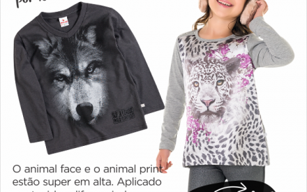 Estampa Animal e Rostos de Animais moda infantil menino e menina