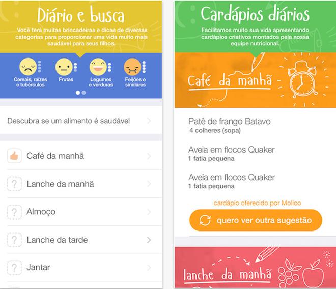 App reeducação alimentar das crianças