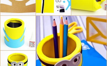 Artesanato divertido: aprenda como fazer um porta-lápis dos Minions