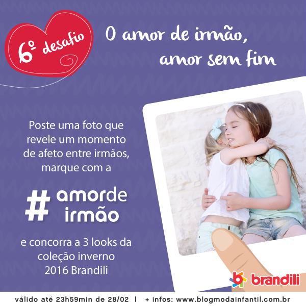 Participe do 6º (e último) Desafio Brandili #AmorDeIrmão