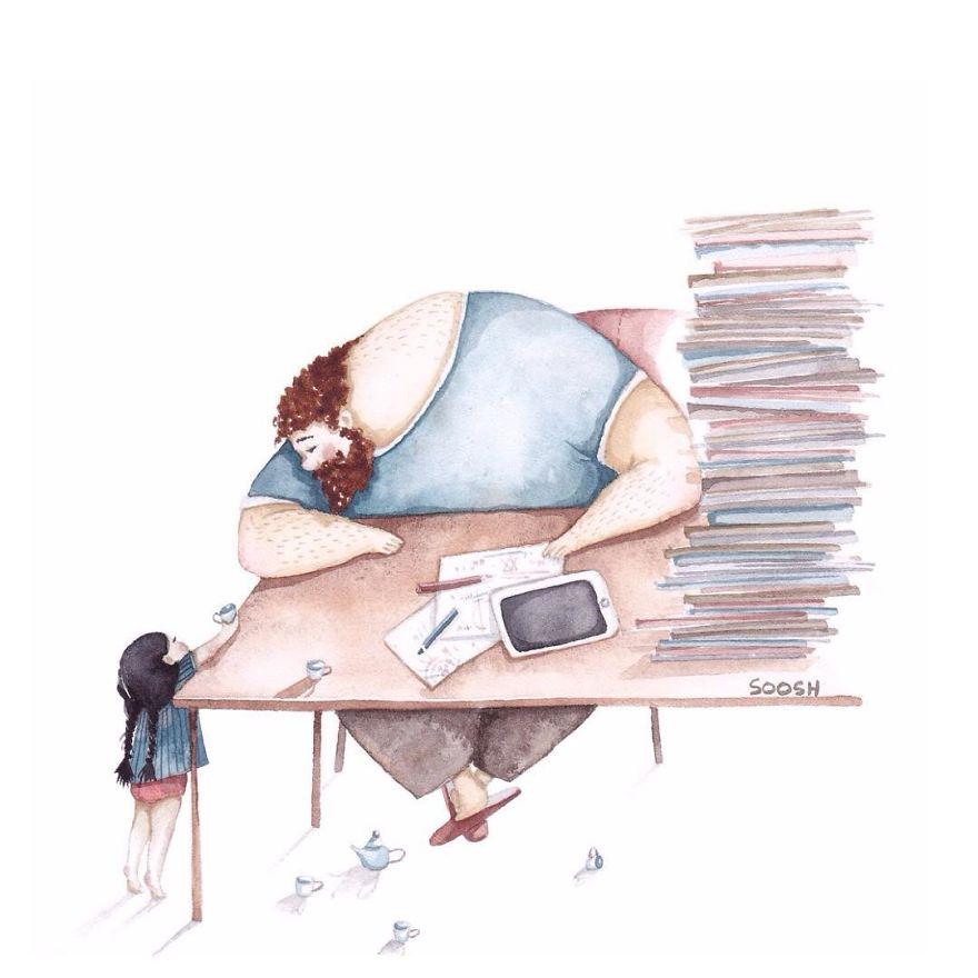 Para emocionar os paizões: série de ilustrações linda mostra o amor entre pais e filhas
