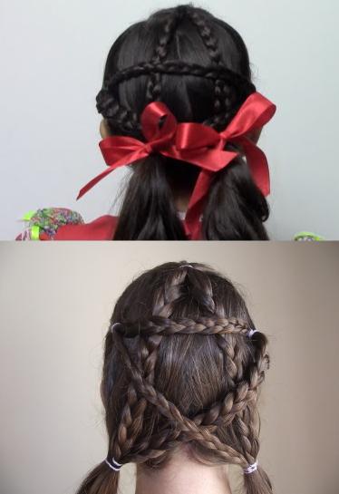 Penteado infantil para festa junina: trancinhas em forma de estrela
