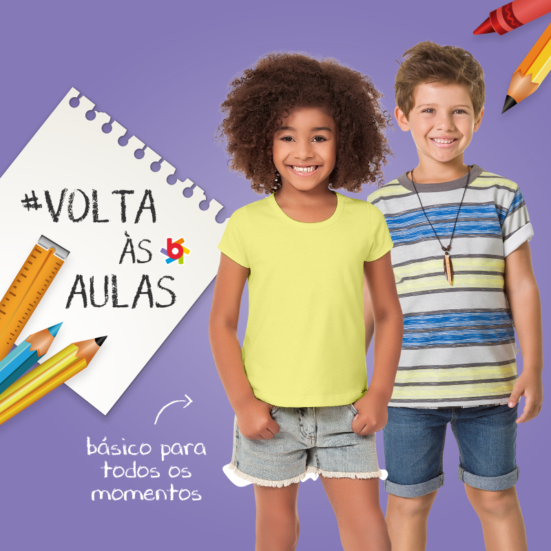 ... Volta às aulas Brandili  looks para as crianças estudarem com muito  estilo e conforto ... 3553de9567fbb
