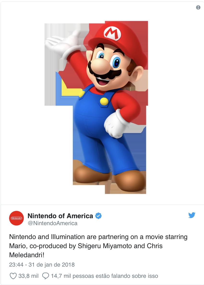 """Nintendo anuncia filme de Super Mario produzido pelo mesmo estúdio de """"Minions"""""""