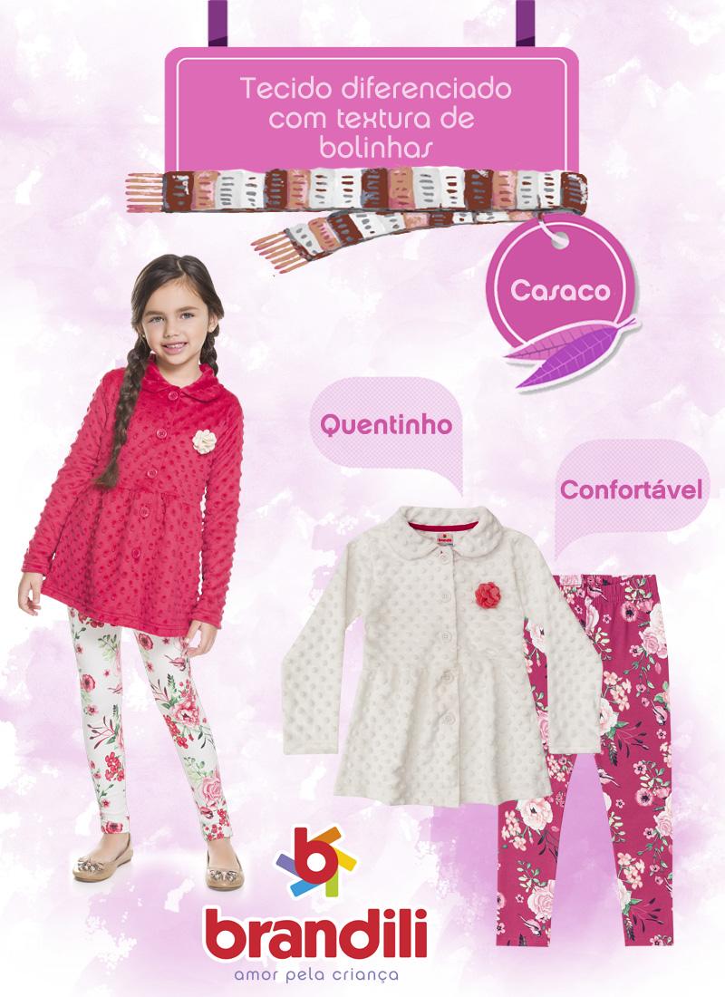 Para aquecer as meninas: casaco com tecido diferenciado com textura bolinhas