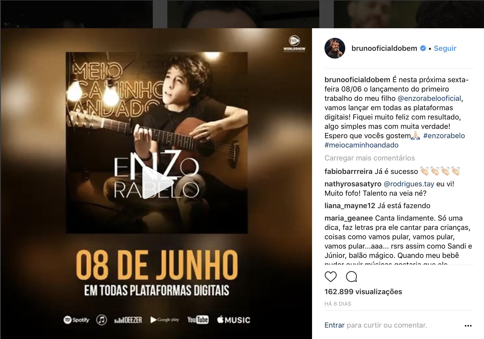 Enzo, filho do cantor Bruno, da dupla com Marrone, lança seu primeiro single