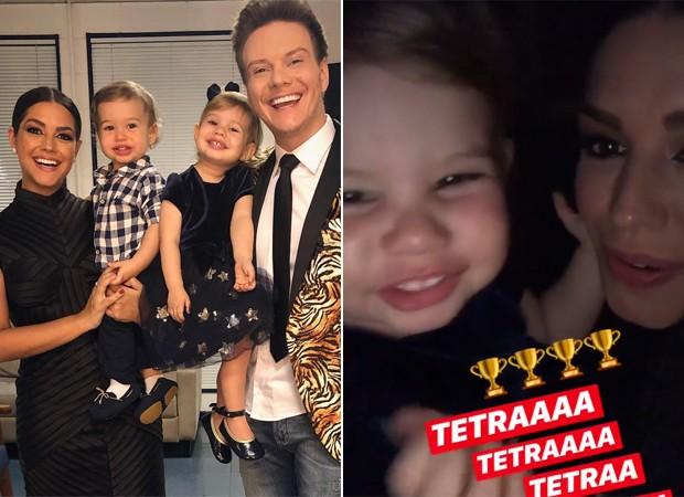 Show de fofura: filha de Michel Teló comemora vitória do papai no The Voice