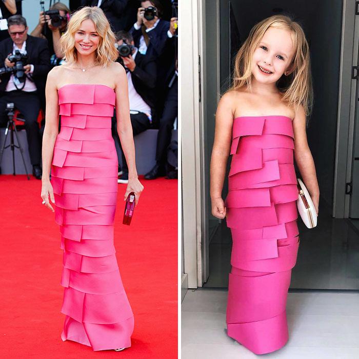 Mãe recria vestidos de celebridades para filha