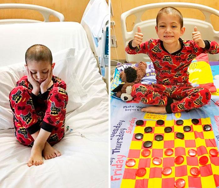 Pai faz cama de hospital virar tabuleiro para entreter crianças